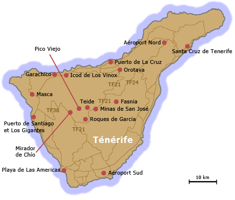 Carte Tenerife.Ile Tenerife Canaries Espagne